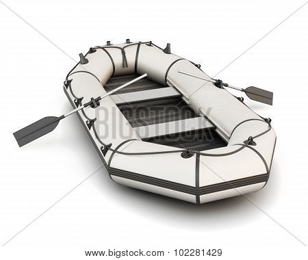 White Inflatable Rubber Boat With Oars