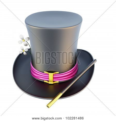 Magic Cylinder Hat On A White