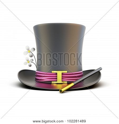 Black Cylinder Magician With A Magic Wand On A White Background