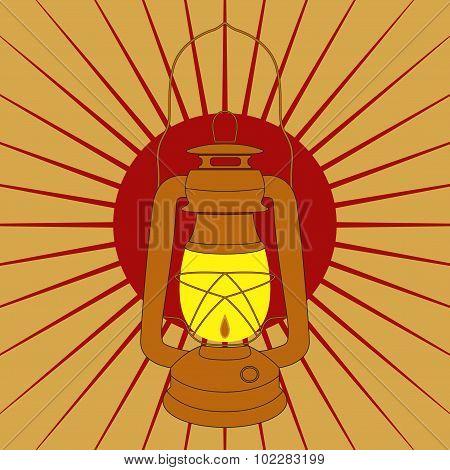 Vintage Mine Kerosene Lamp Over Red Sunrise Rays