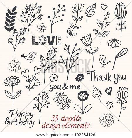 Floral Doodle Sketchy Vector Illustration