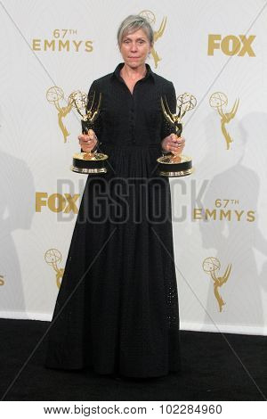 LOS ANGELES - SEP 20:  Frances McDormand at the Primetime Emmy Awards Press Room at the Microsoft Theater on September 20, 2015 in Los Angeles, CA