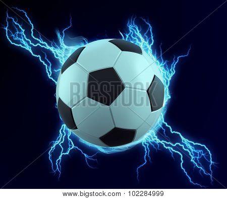 Soccer Ball Spark With Blue Thunder
