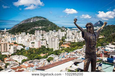 RIO DE JANEIRO, BRAZIL - APRIL 27, 2015: Michael Jackson memorial at Santa Marta in Rio de Janeiro on April 27, 2015, Brazil. The statue was built shortly after musician's death in year 2009.