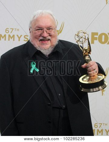 LOS ANGELES - SEP 20:  George R.R. Martin at the Primetime Emmy Awards Press Room at the Microsoft Theater on September 20, 2015 in Los Angeles, CA