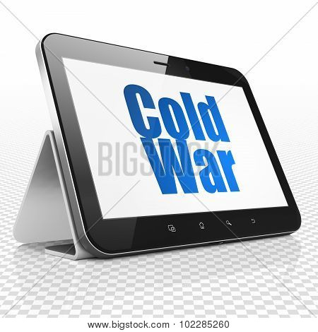 Political concept: Tablet Computer with Cold War on display
