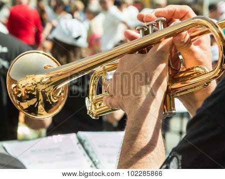 Beard Man Playng Brass Lacquered Trumpet