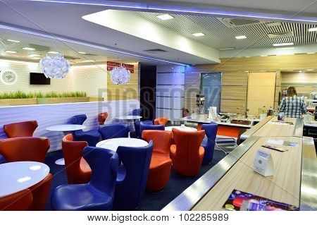 SAINT PETERSBURG, RUSSIA - AUGUST 04, 2015: Aeroflot lounge interior. OJSC Aeroflot - Russian Airlines, commonly known as Aeroflot, is the flag carrier and largest airline of the Russian Federation.