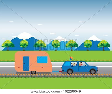 Family Traveling By Car With Trailer.