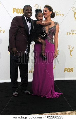 LOS ANGELES - SEP 20:  Tracy Morgan, Maven Sonae Morgan, Megan Wollover at the Primetime Emmy Awards Press Room at the Microsoft Theater on September 20, 2015 in Los Angeles, CA