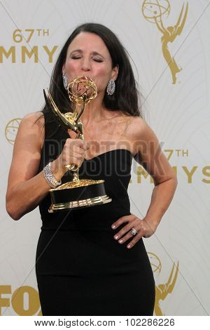 LOS ANGELES - SEP 20:  Julia Louis-Dreyfus at the Primetime Emmy Awards Press Room at the Microsoft Theater on September 20, 2015 in Los Angeles, CA