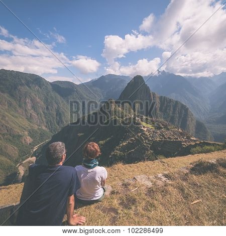 Tourism In Machu Picchu, Peru, Toned Image