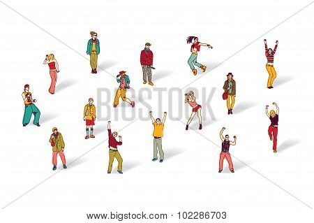 Casual people isolated on white and shadows
