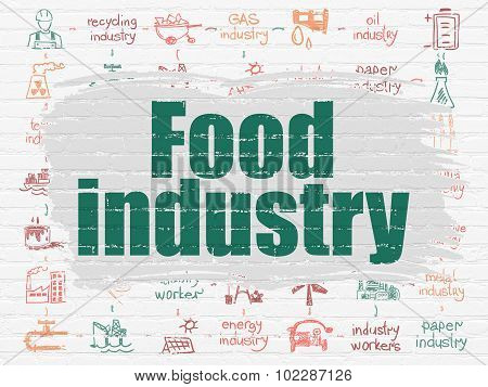 Manufacuring concept: Food Industry on wall background
