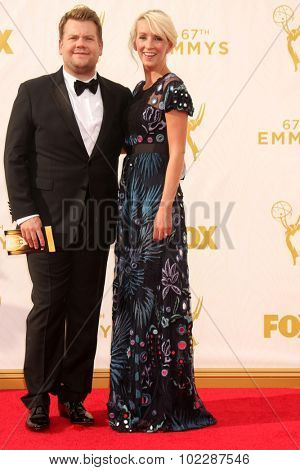 LOS ANGELES - SEP 20:  James Corden, Julia Carey at the Primetime Emmy Awards Arrivals at the Microsoft Theater on September 20, 2015 in Los Angeles, CA