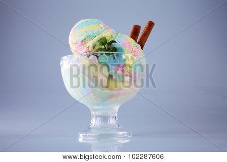 rainbow ice cream in sundae cup