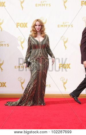 LOS ANGELES - SEP 20:  Christina Hendricks at the Primetime Emmy Awards Arrivals at the Microsoft Theater on September 20, 2015 in Los Angeles, CA