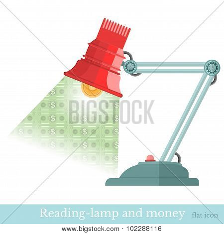 business concept background reading-lamp and beam flashed money