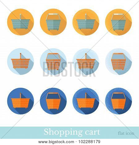 set of flat business circle icon with long shadow effect shopping basket front view, side view