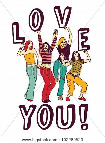 Group young woman love sign color