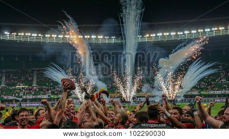 VIENNA, AUSTRIA - JUNE 7, 2014: Team Germany celebrate their win over Austria in the finals.