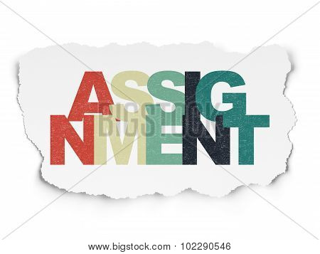 Law concept: Assignment on Torn Paper background