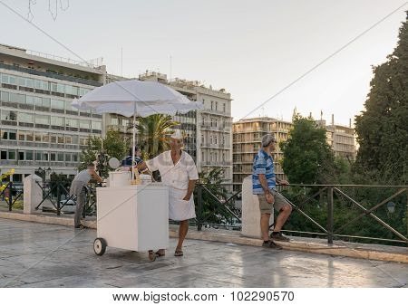 Portrait of an old ice cream salesman at Sintagma square in Athens