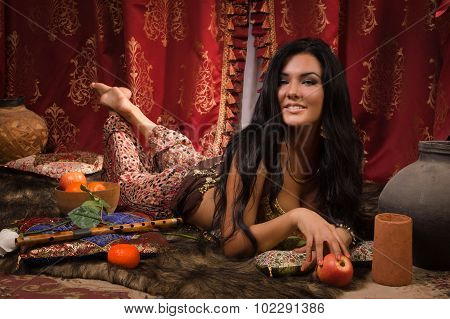 Beautiful Belly Woman In The Arabic Harem Interior