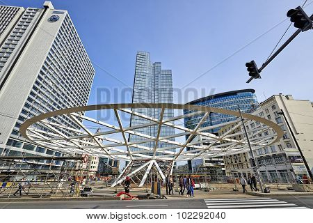 Canopy For Place Rogier Under Construction, Brussels, Belgium