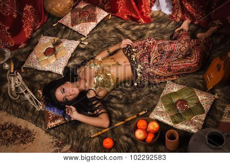 Beautiful Belly Dancer In The Arabic Harem Interior