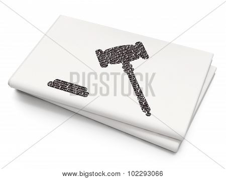 Law concept: Gavel on Blank Newspaper background