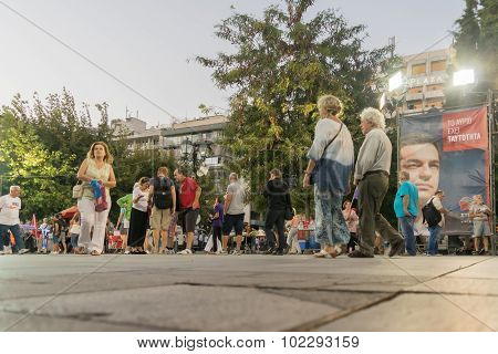 People walking in Sintagma square waiting for Alexis Tsipras public speech.