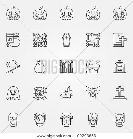 Halloween linear icons set