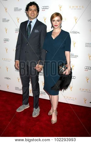 LOS ANGELES - SEP 19:  Geoffrey Arend, Christina Hendricks at the 67th Emmy Awards Performers Nominee Reception at the Pacific Design Center on September 19, 2015 in West Hollywood, CA