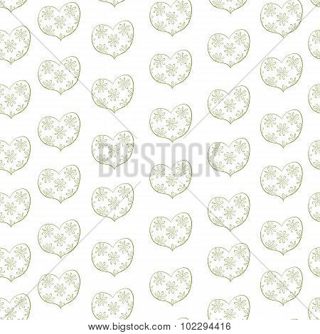 heart in a floret seamless pattern. vector background