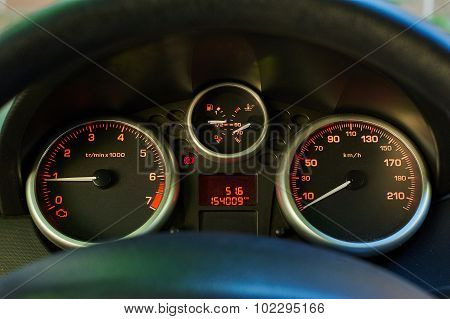 Backlit Gauges Of An Automobile.
