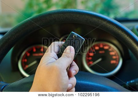 Man Driver Hand Holding Car Key