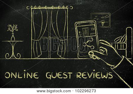 Online Guest Reviews, Sharing The Photo Of An Hotel Room On His Mobile