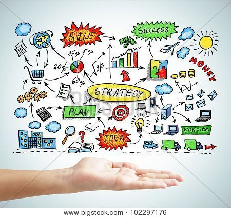 Hand Showing Concept Of Business Plan