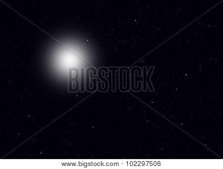 Sun far far away in the space