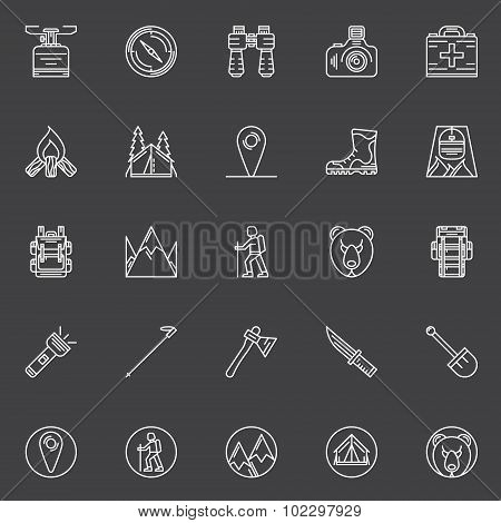 Vector linear hiking icons