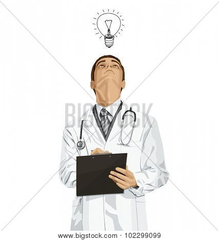 Vector doctor man writing something, looking up, looking for idea,