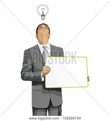 Idea concept. Vector Business man holding empty write board, looking up, looking for idea,