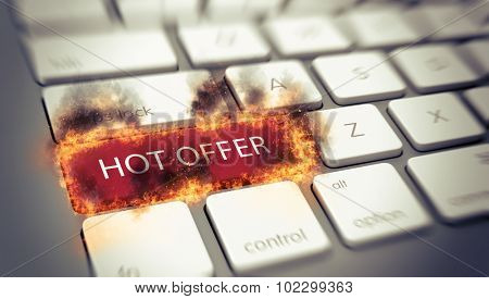 Hot Offer concept with a flaming red key on a white computer keyboard engulfed in flames with scorching on surrounding keys with the words - Hot Offer. 3d Rendering.
