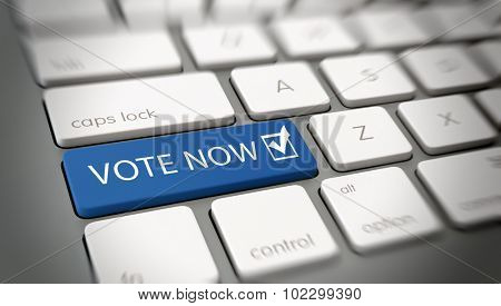 Online or internet Vote Now concept with a blue enter button on a white computer keyboard with the words - Vote Now - and a ticked check box icon, close up with blur vignette. 3d Rendering.