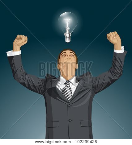 Vector happy businessman with hands up, looking up, looking for idea, celebrating his victory