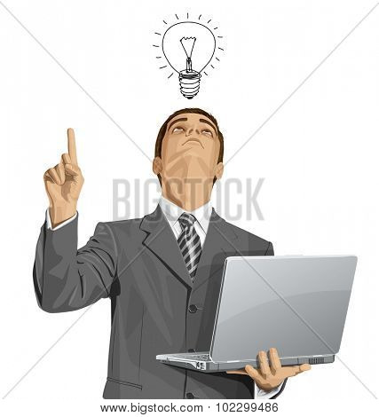 Idea concept. Vector business man looking up, looking for idea, shows something with his finger