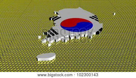 South Korea map flag on golden Won coins illustration