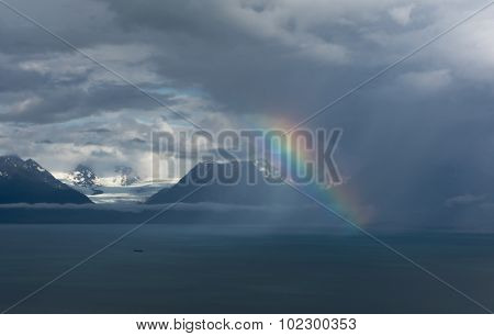 Rainbow In Front Of Glacier