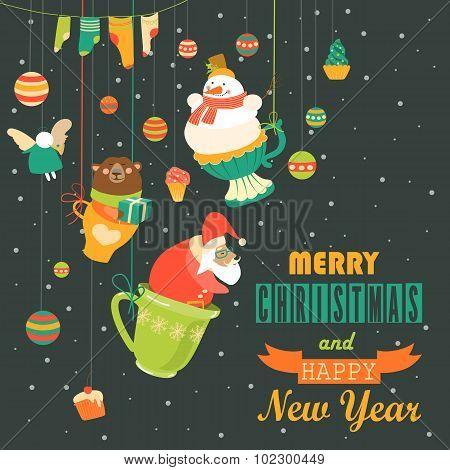 Cute Christmas decorations with Santa, snowman,angel and bear